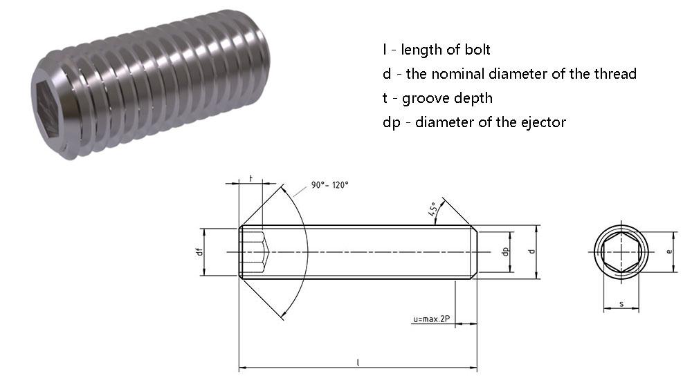DIN913 Hexagon Socket Set Screws with Flat Point